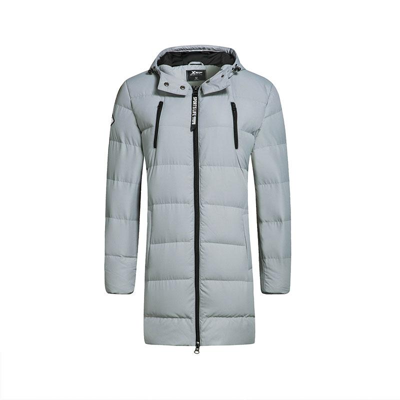 特步 女子羽绒服冬季款 校园修身保暖长款外套883428199715