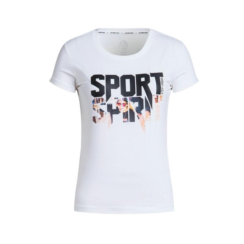 特步 专柜 女子休闲T恤 17新品 潮流时尚 女子夏季针织衫983228011747