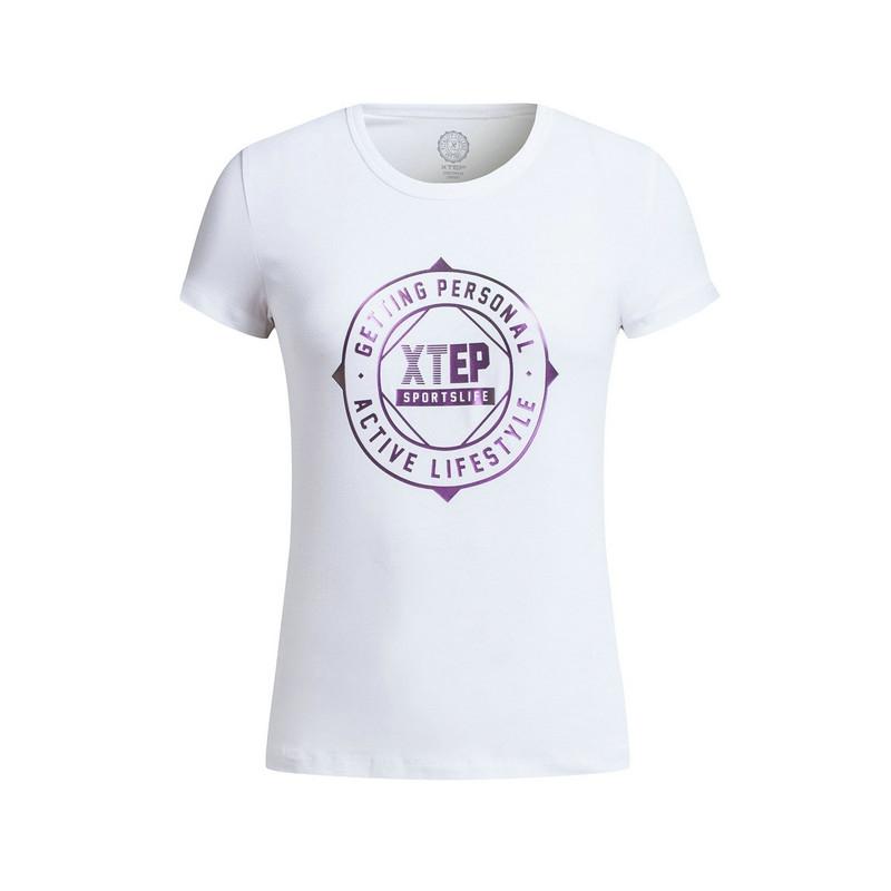 特步 专柜款 女子夏季短袖 17新品 透气字母女T恤983228011788