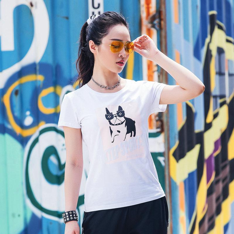 特步 女子2018新款户外运动健身针织衫T恤882128019268