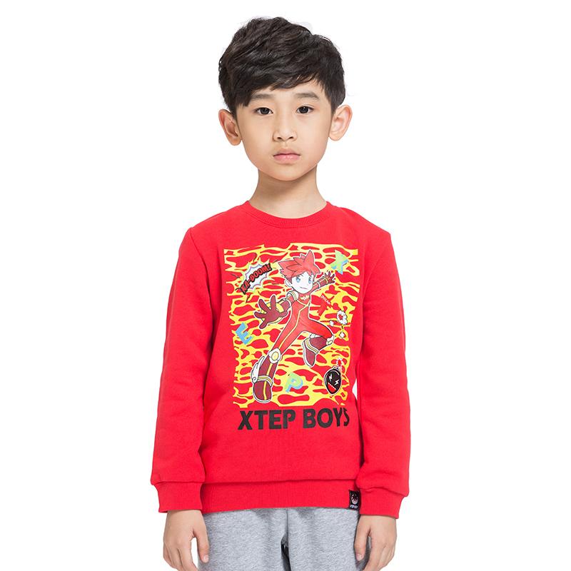 特步 专柜 男童卫衣 个性帅气纯棉 男长袖衫685425050170