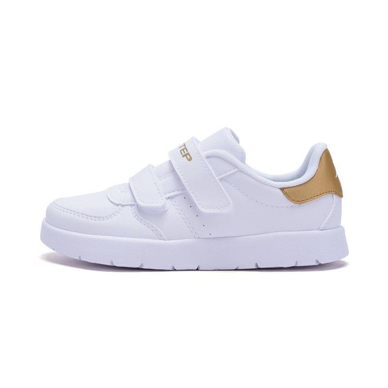 特步 男女童板鞋春季款 休闲时尚百搭小童儿童小白鞋682116319796