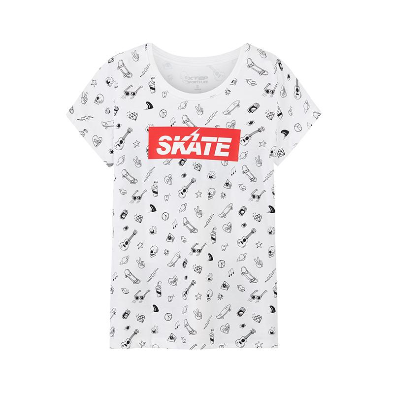 特步 专柜款 女子短袖针织衫2018年夏季新品休闲时尚T恤982228012193