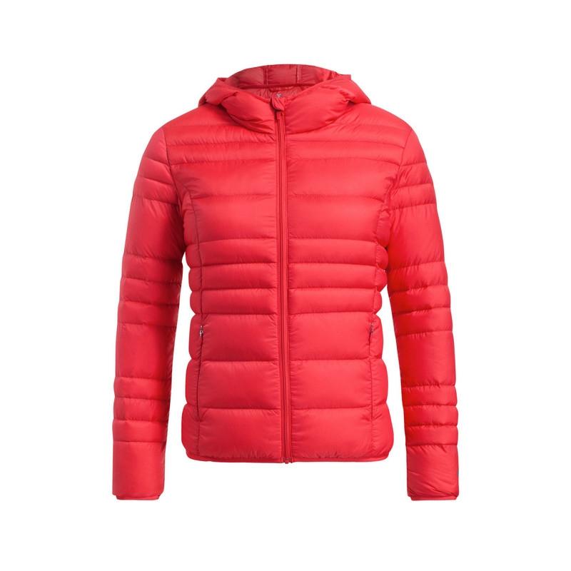 特步 专柜款   冬季女子羽绒服 新款时尚修身连帽女外套984428190500