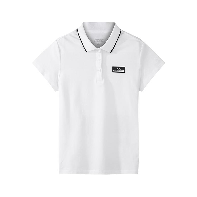 特步 专柜款 女子休闲POLO衫夏季纯色棉质舒适休闲舒适透气时尚T恤982228021065