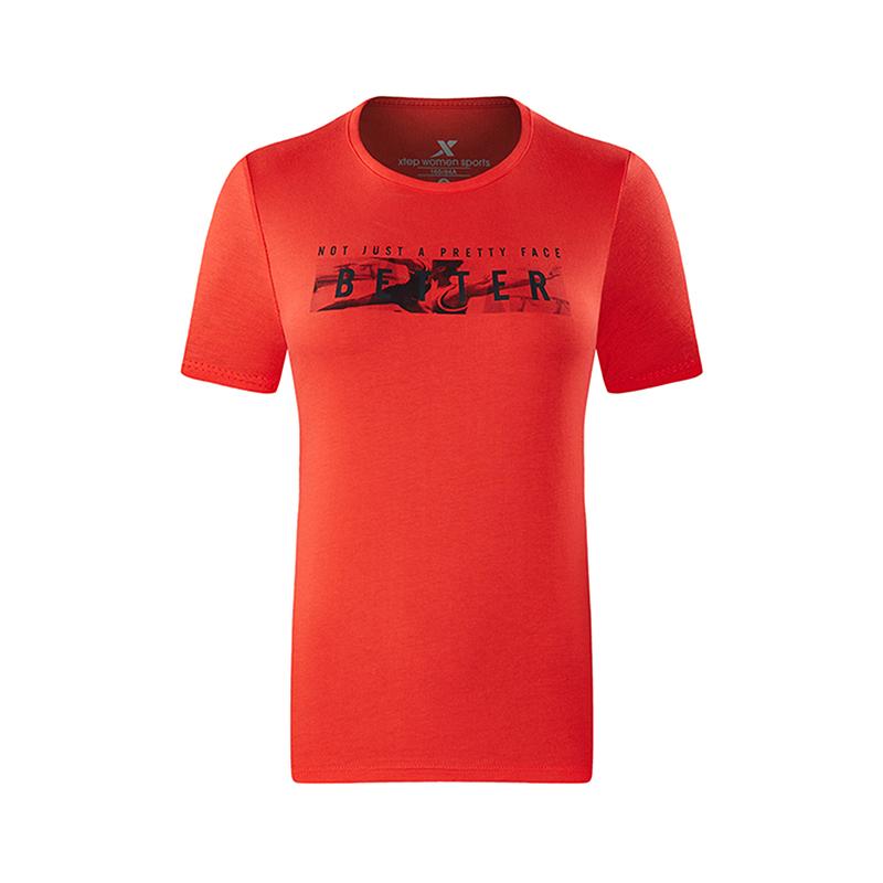 特步 专柜款 女子运动综训短袖轻薄透气针织衫T恤982228012051