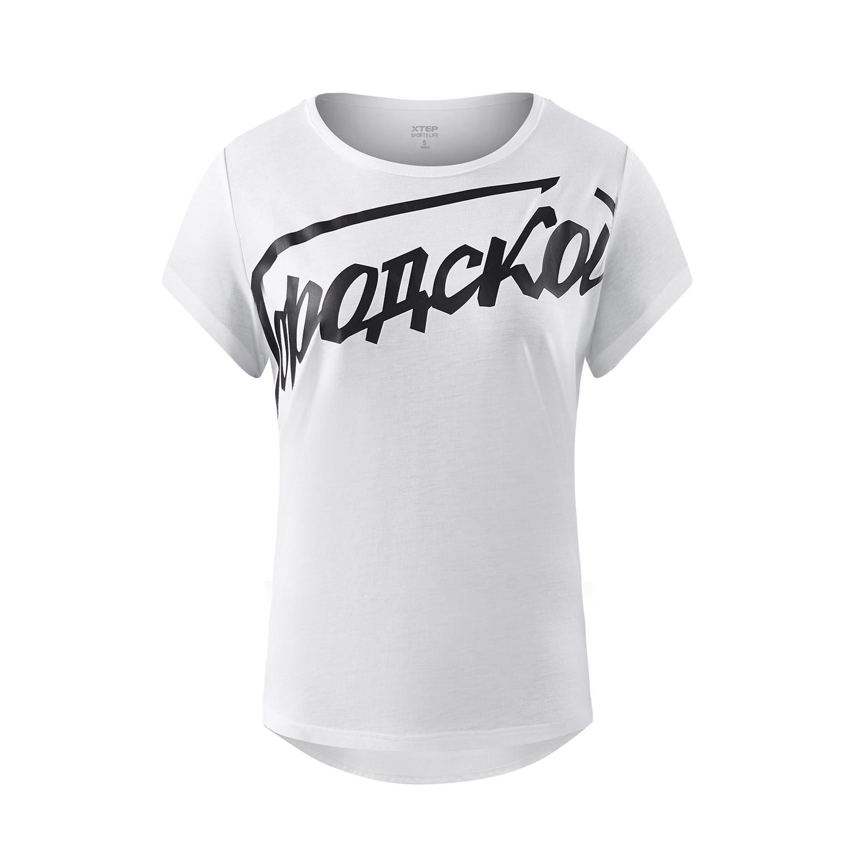 特步 专柜款 女子夏季短袖T恤 都市简约女装982228012235