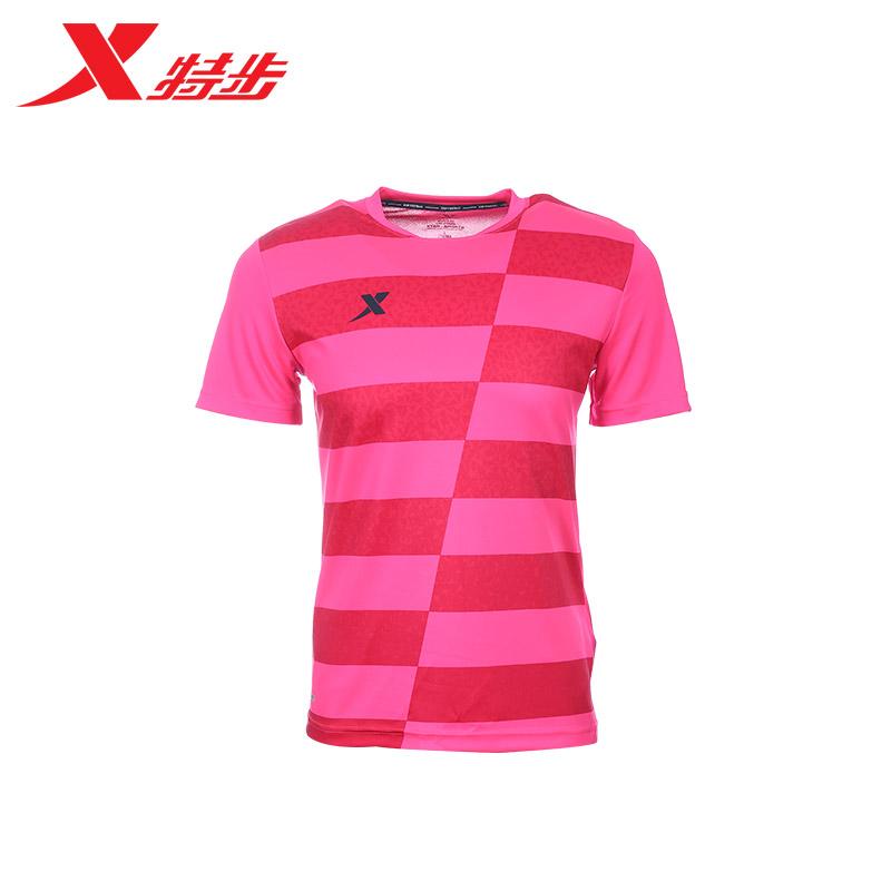 特步 男子夏季足球T恤 运动比赛条纹队服比赛服983329011897