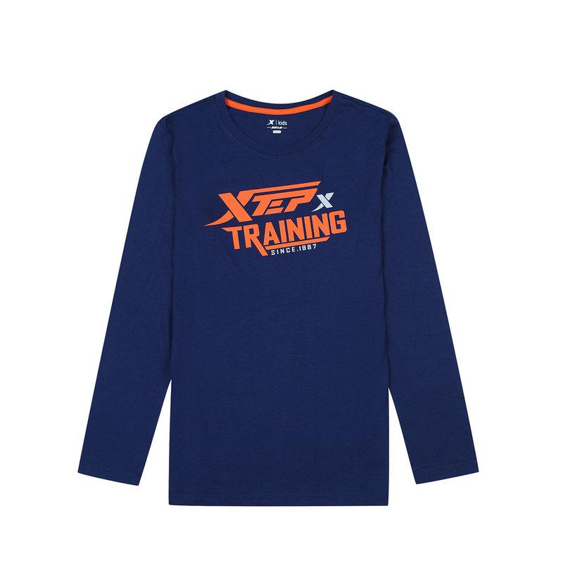 特步 专柜款 男童秋季针织衫 17新品舒适长袖T恤683325034001