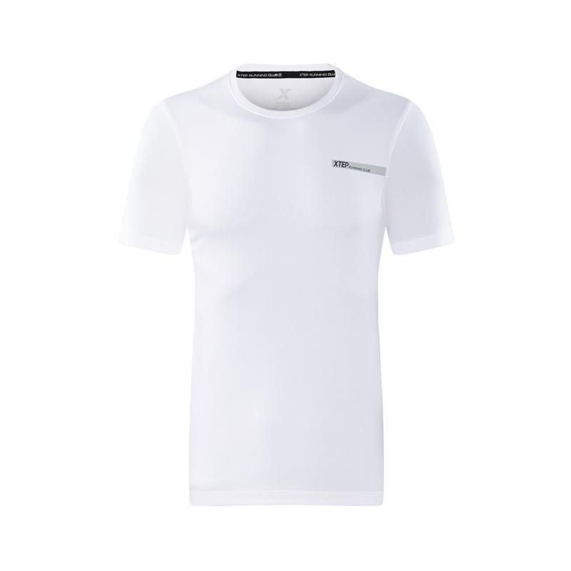 特步 专柜款 男短袖针织衫2018夏季新款圆领套头轻便舒适运动T恤 982329012346