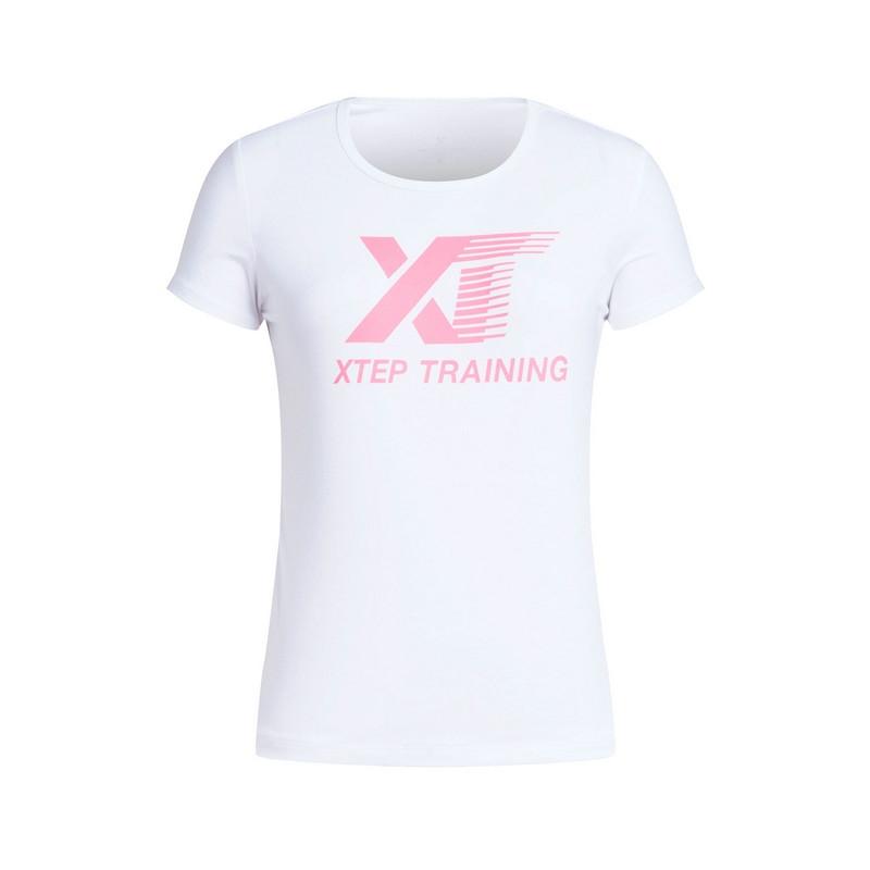 特步 专柜 女子运动T恤 跑步健身运动 短袖针织衫983228011744