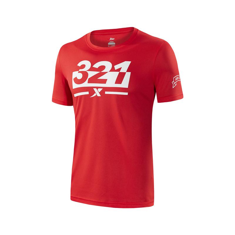 特步 男子夏季T恤 简约时尚运动短T圆领纯色运动服882229019240