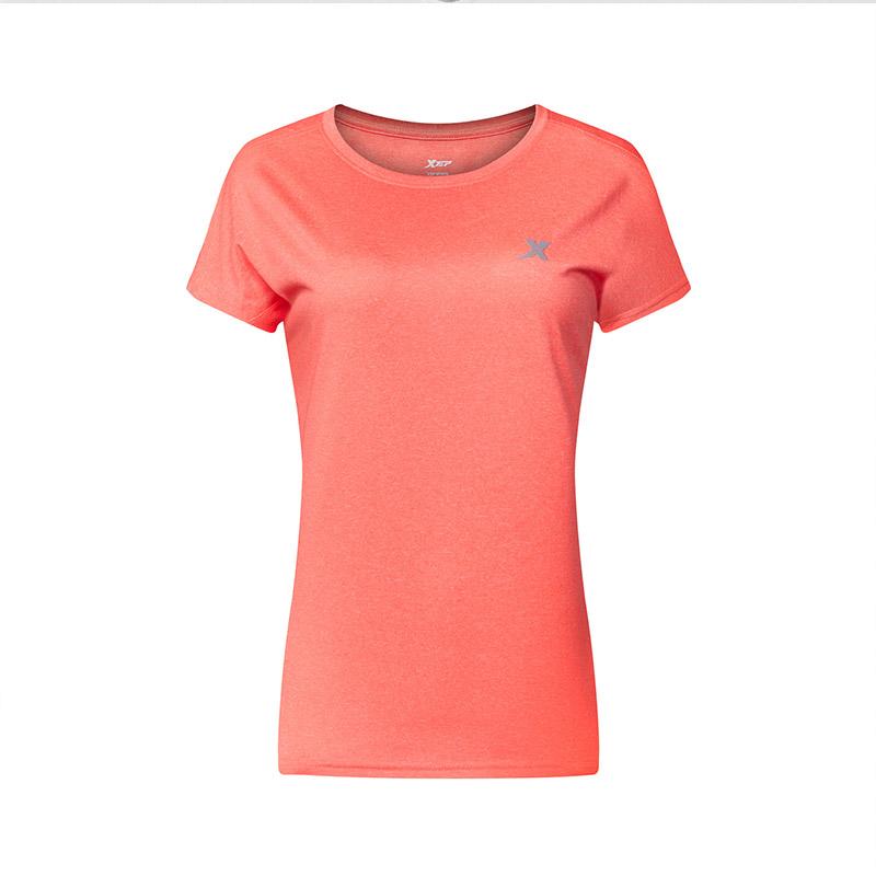 特步女子短袖2018春季休闲运动上衣圆领舒适运动短T882228019340