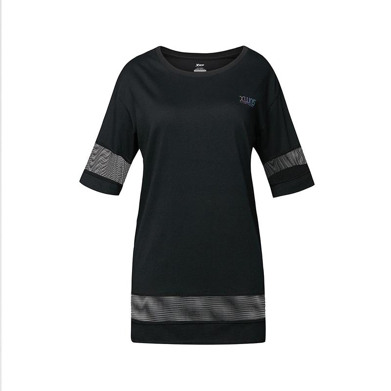 特步 女子中长款T恤 跑步运动宽松女装882228019157