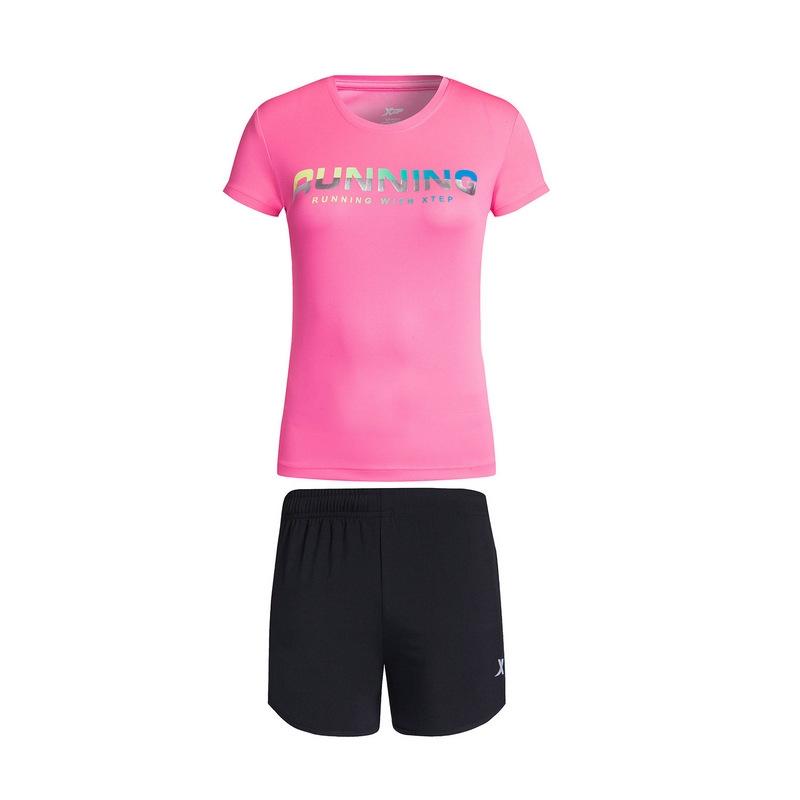 特步 女子夏季跑步套装 17新品 轻便 女子套装883228959352