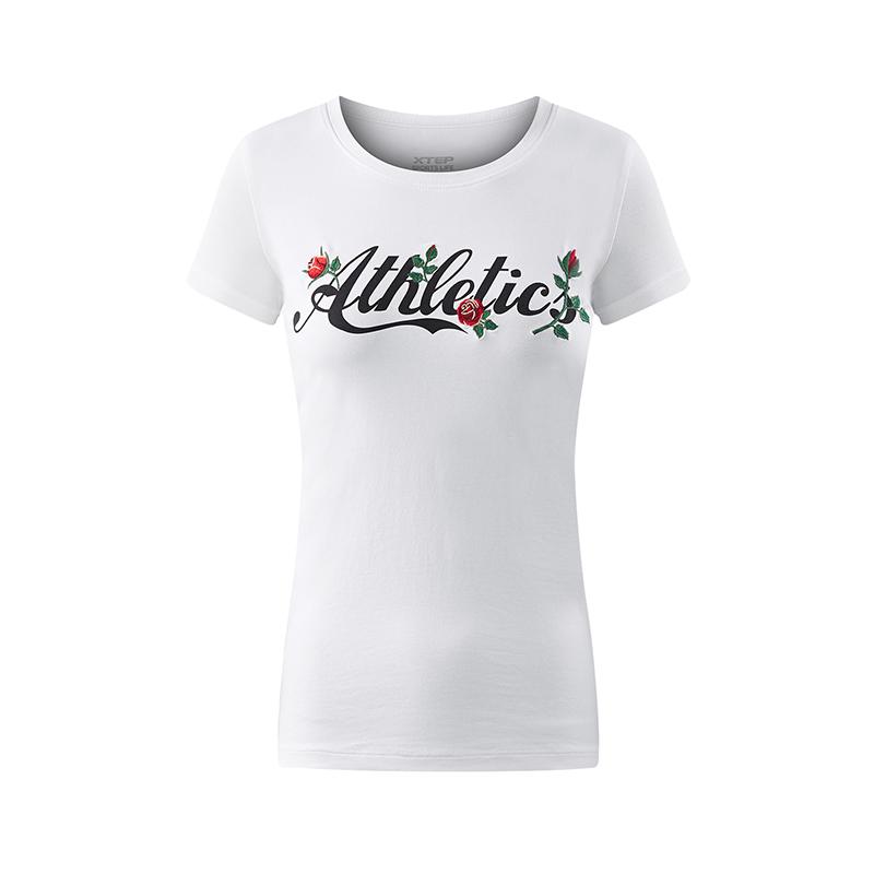 【明星同款】特步 专柜款 女子夏季短袖T恤 活力印花 赵丽颖同款女装982228012148