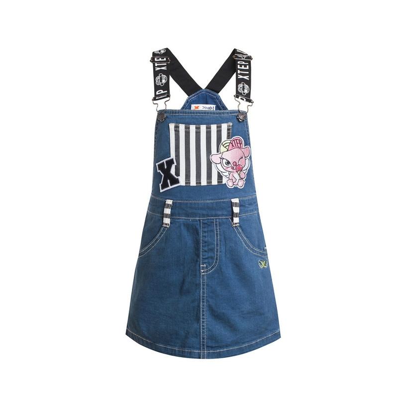 特步 专柜款 女童夏季背带裙 潮流可爱牛仔 女童背带裙684224935286