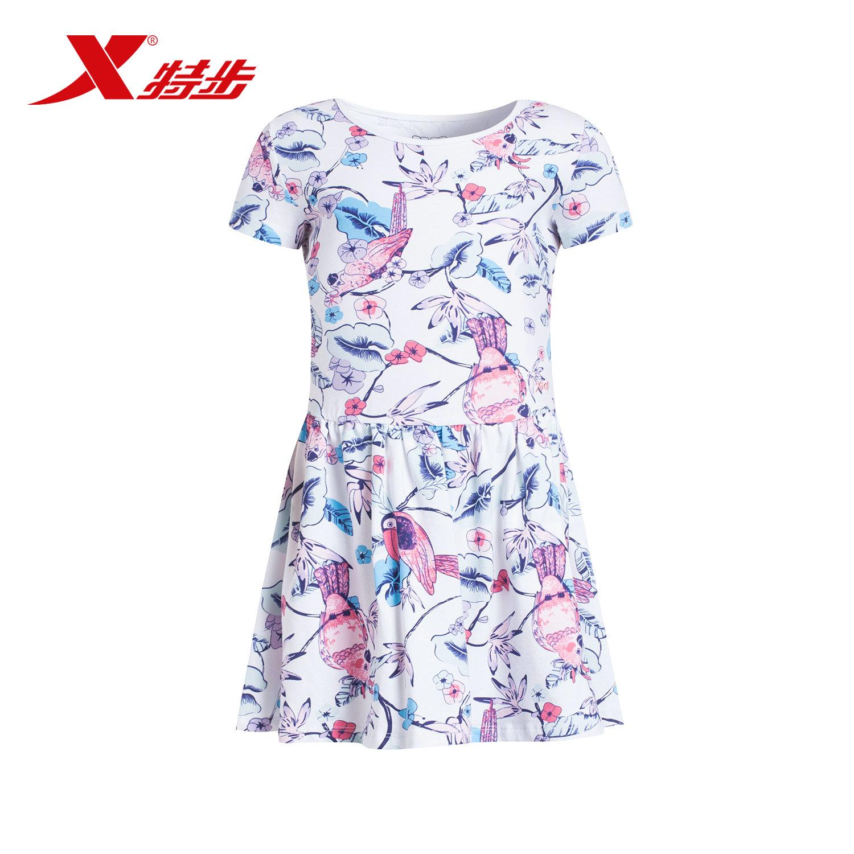 特步 专柜款 儿童夏季连衣裙 小碎花舒适大童连衣裙684224915305