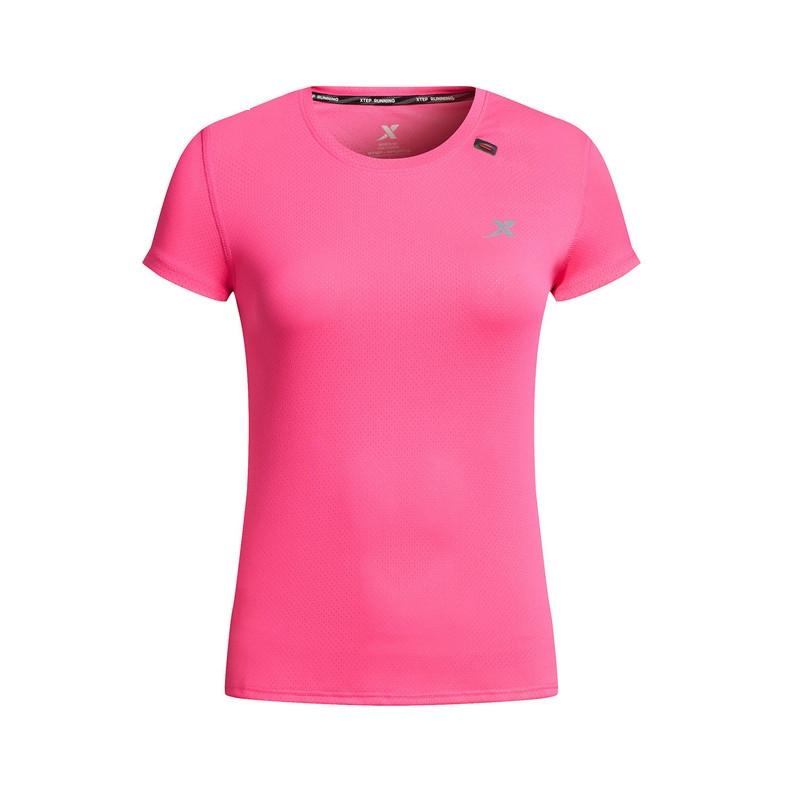 特步 专柜款 女子短袖针织衫 吸湿透气 女子跑步健身T恤983228011710
