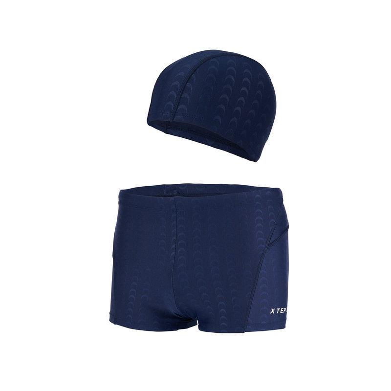特步 男子平角短裤+泳帽  亲水舒适游泳两件装882239819122