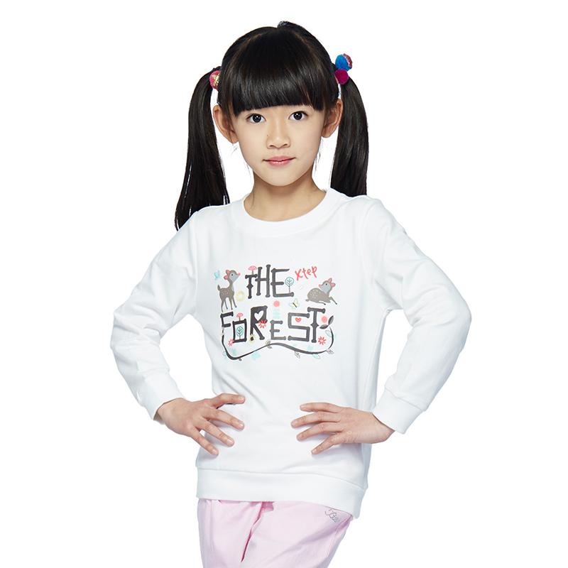 特步 儿童卫衣 时尚休闲舒适女童长袖卫衣上衣686124050382