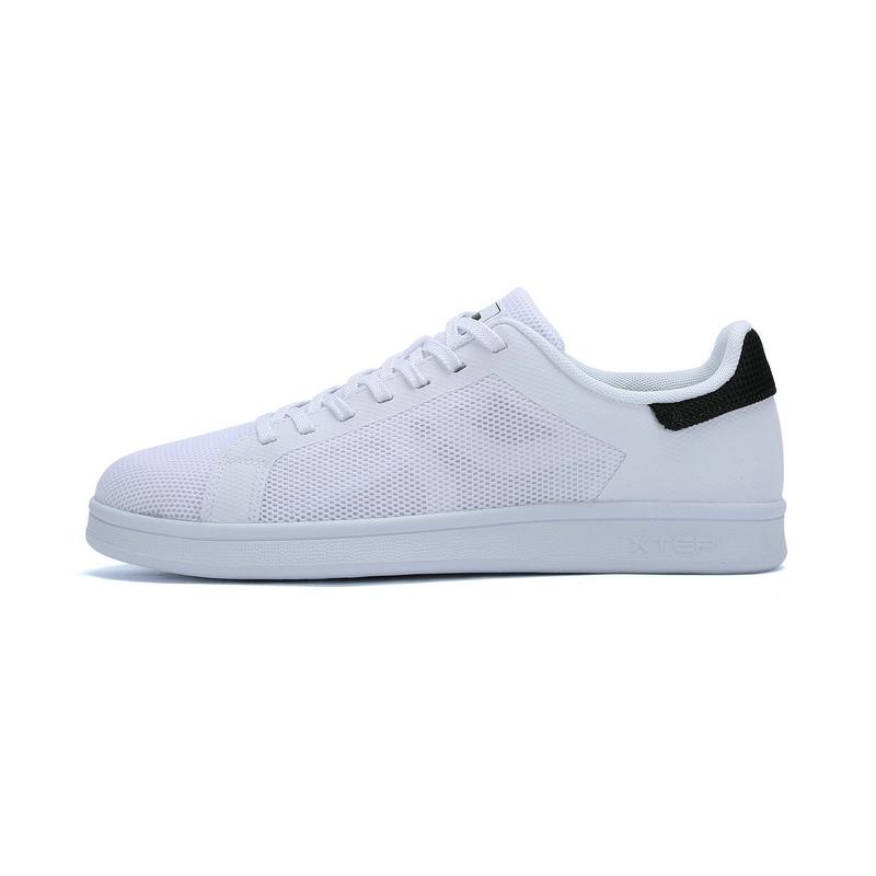 特步 专柜款 女子夏季板鞋  新品简约网面透气时尚小白鞋女鞋983218315667