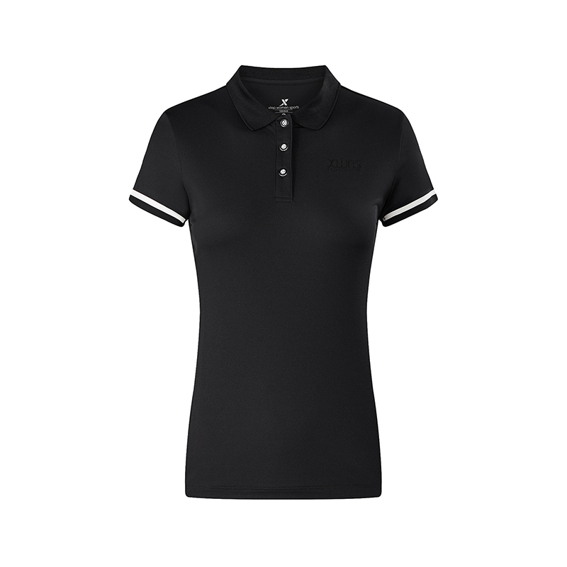特步 专柜款 女子休闲短袖POLO衫2018夏季新品修身显瘦短恤 982228021030