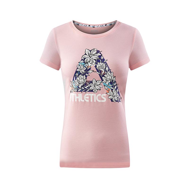 特步 专柜款 女子夏季T恤 活力休闲女子短袖982228012140