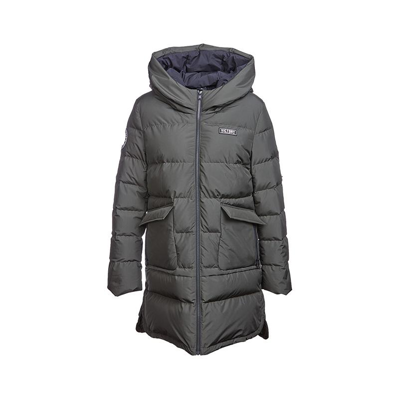 特步 专柜款 女子中长款羽绒服 校园时尚保暖外套983428190713