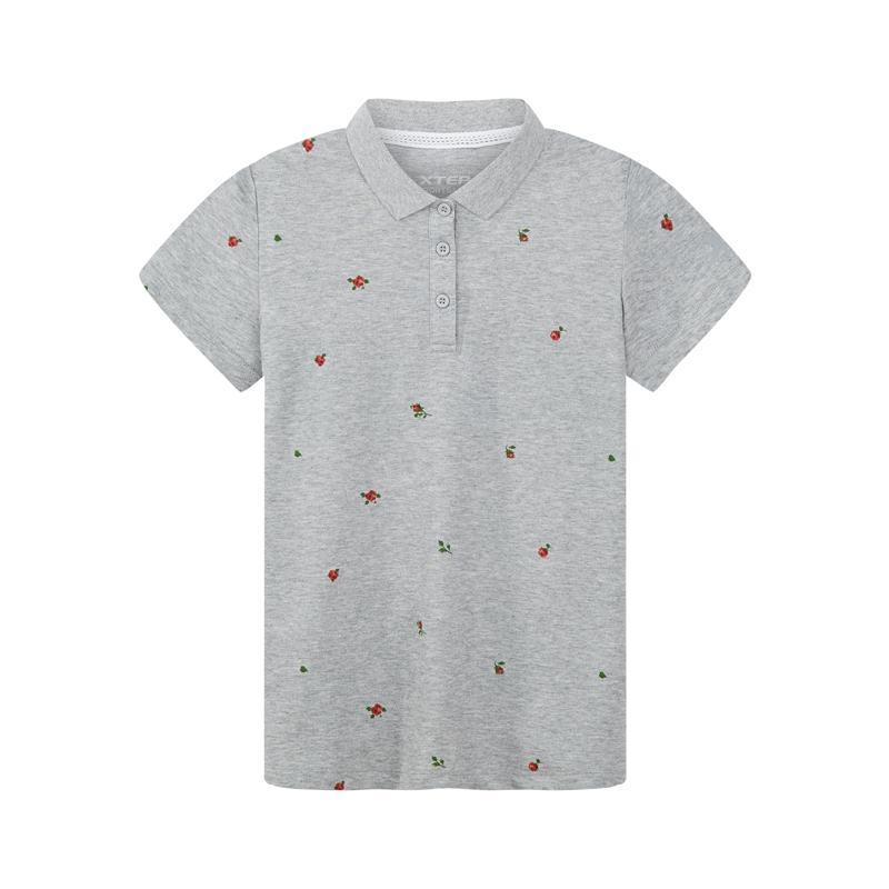 特步 专柜款 女子夏季运动T恤轻便修身立领透气时尚女短袖上衣982228021042