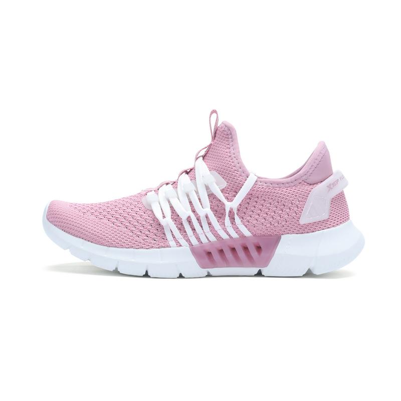 特步 专柜款 女子夏季跑鞋 网面透气 一体织女鞋982218116999