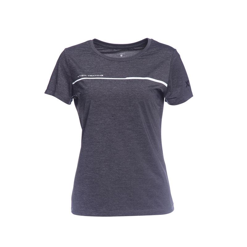 特步 专柜款 女子运动T恤 冰释科技透气舒适综训针织衫982228012309