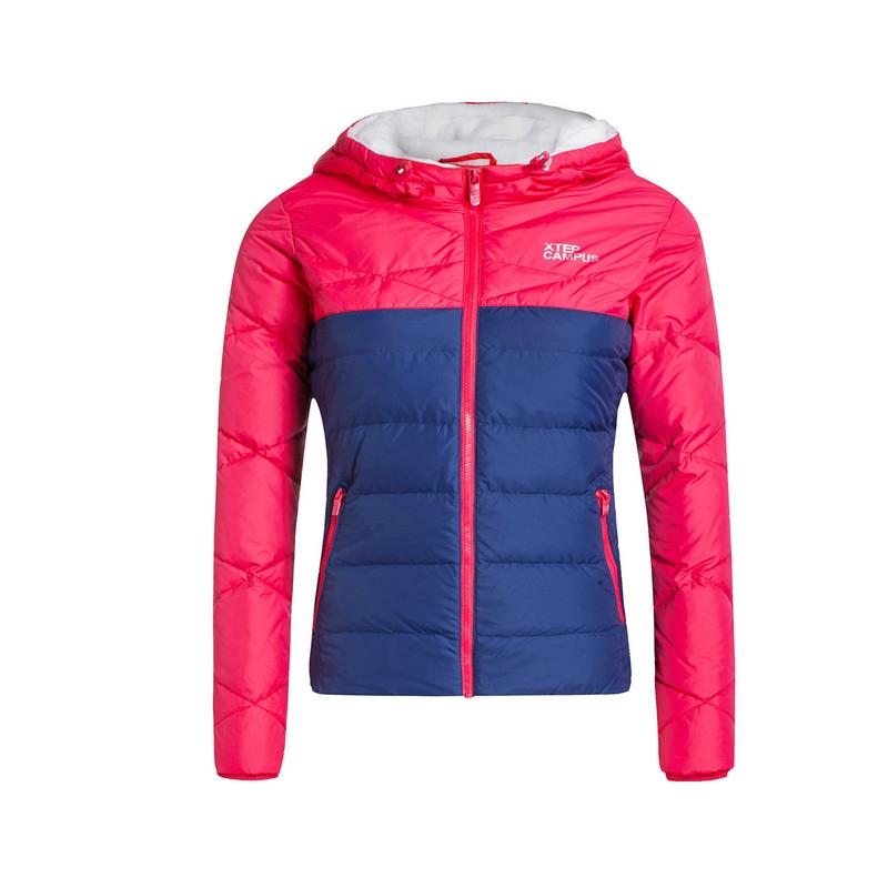 特步 专柜款  女羽绒服冬季新品 拼色简约保暖女外套 984428190519