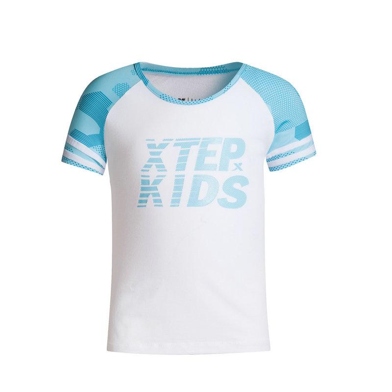 特步 专柜款 女童新款时尚短袖针织上衣T恤683224014147
