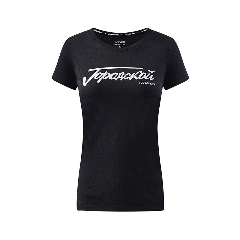 特步 专柜款 女子休闲T恤 都市潮流简约短装982228012203