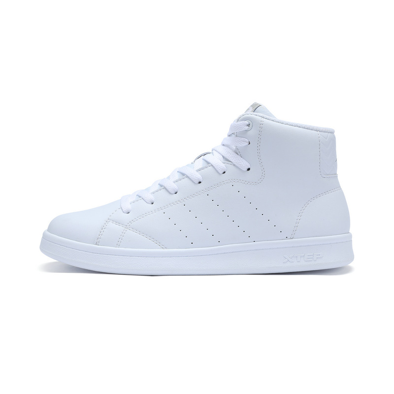 特步 男子秋季板鞋 简约纯色 高帮潮流板鞋983319319257