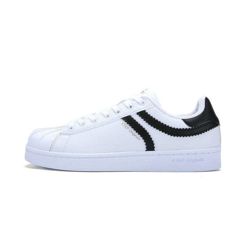 特步 专柜款    新款男子板鞋 都市π系列贝壳头小白鞋983119315553