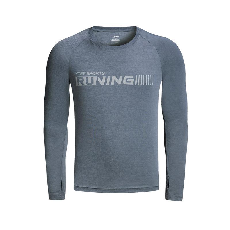 特步 男子春季长袖T恤 运动健身跑步T恤882129039119