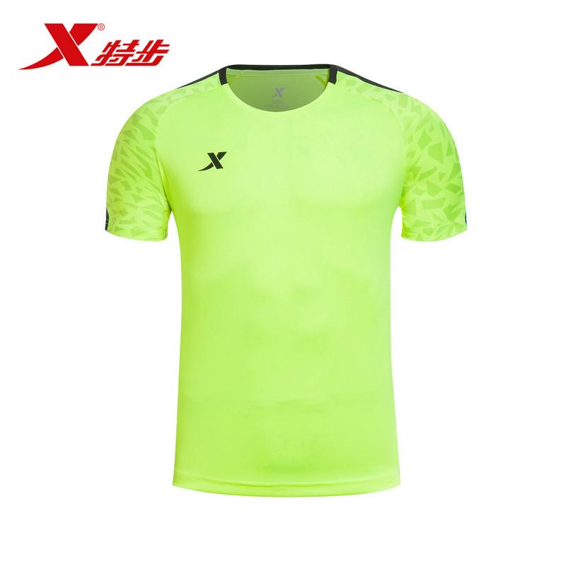 特步  男子短T恤 足球T恤运动上衣 983129011648