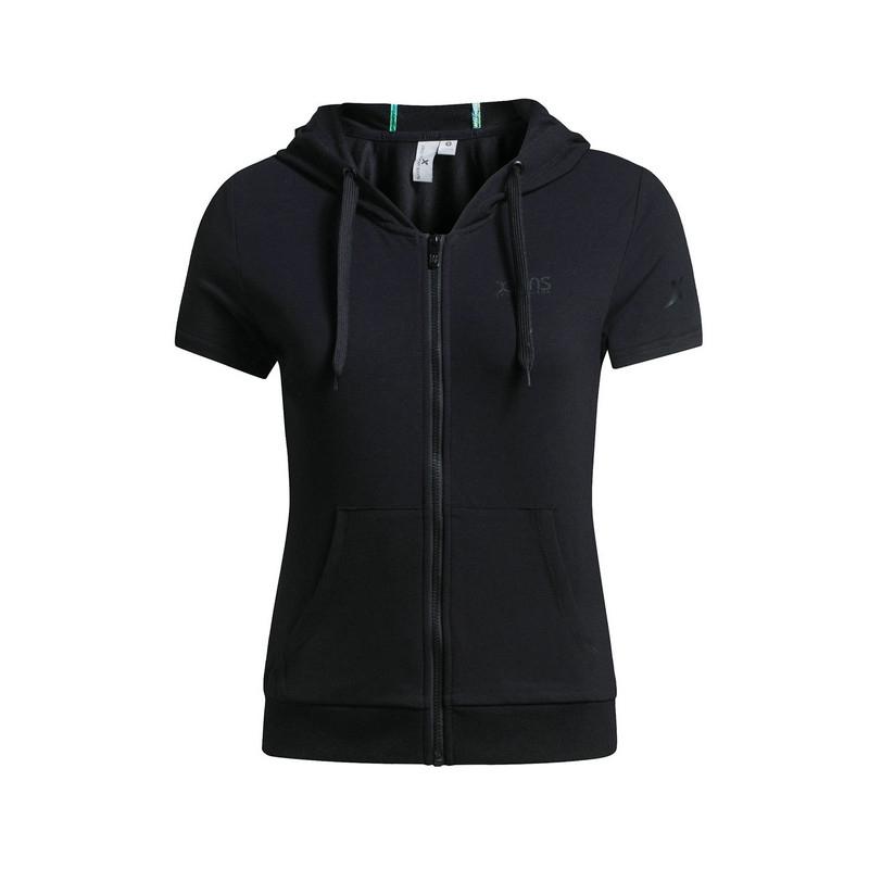 特步 女子短袖T恤   夏季新品连帽舒适运动套装上衣 跑步健身T恤983228430011