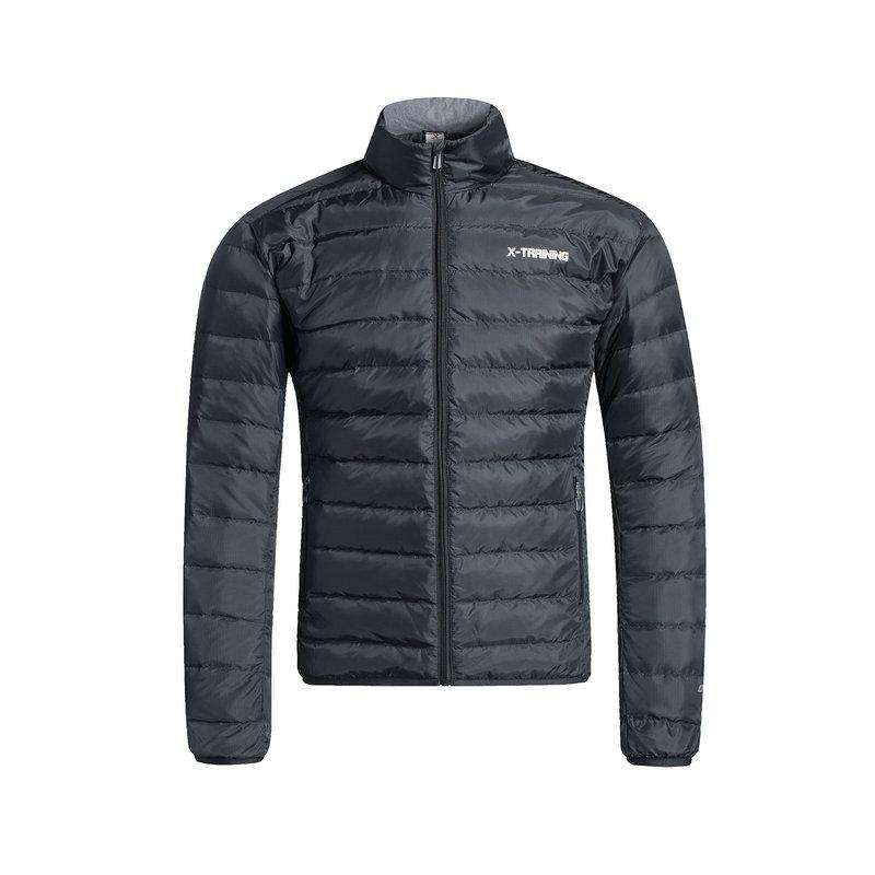 特步 男子羽绒服 冬季新品 保暖舒适抗寒运动轻便防风立领纯色休闲外套883429199021