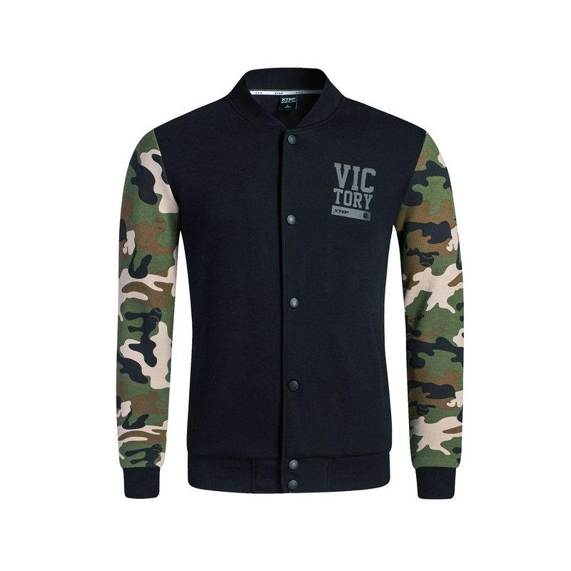 特步 专柜款 男子秋季针织上衣 新品校园迷彩外套983329061382