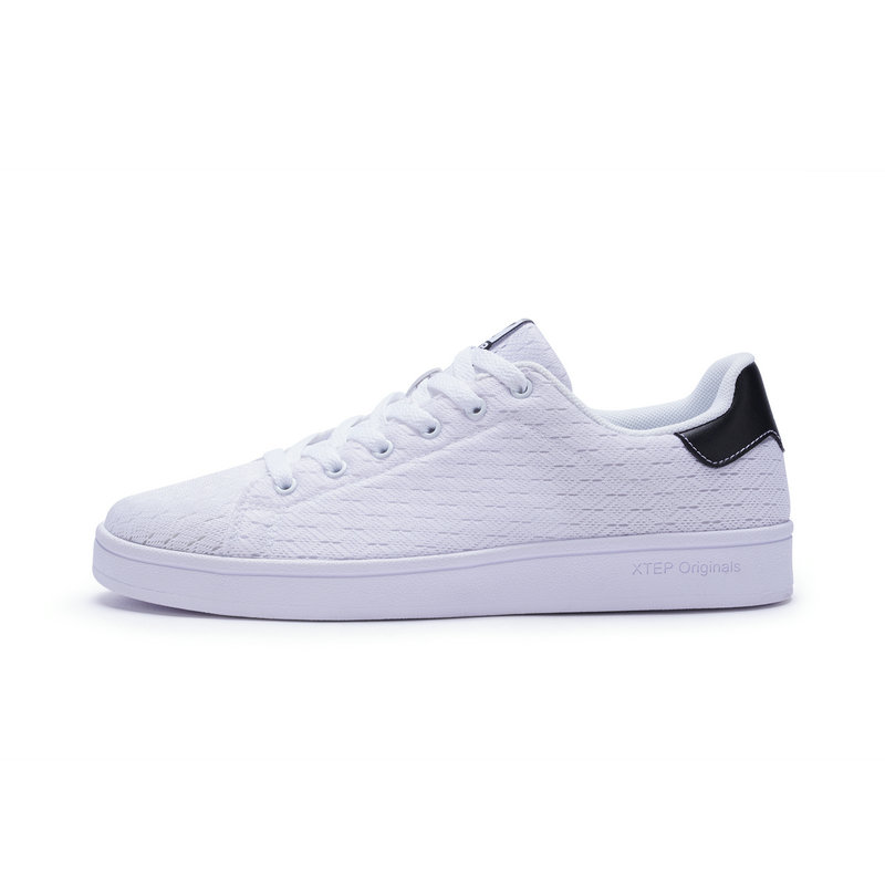特步 男子板鞋 透气舒适鞋子 百搭小白鞋982119319985