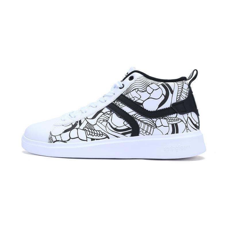 特步 专柜款 男子冬季板鞋 新品涂鸦潮流高帮板鞋 983419315783