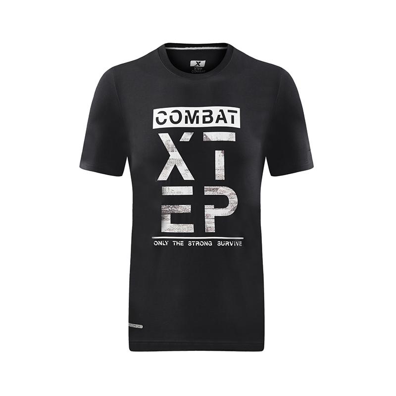 特步 专柜款 男子夏季T恤 综训健身印花T恤982229012121