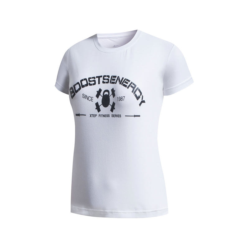 【夏款T恤】特步 女子短袖T恤   新品综训健身轻薄透气时尚字母圆领风格女T恤883228019032