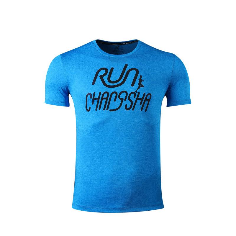 特步 男子T恤长沙马拉松纪念款轻便舒适跑步运动短袖针织衫983429012300