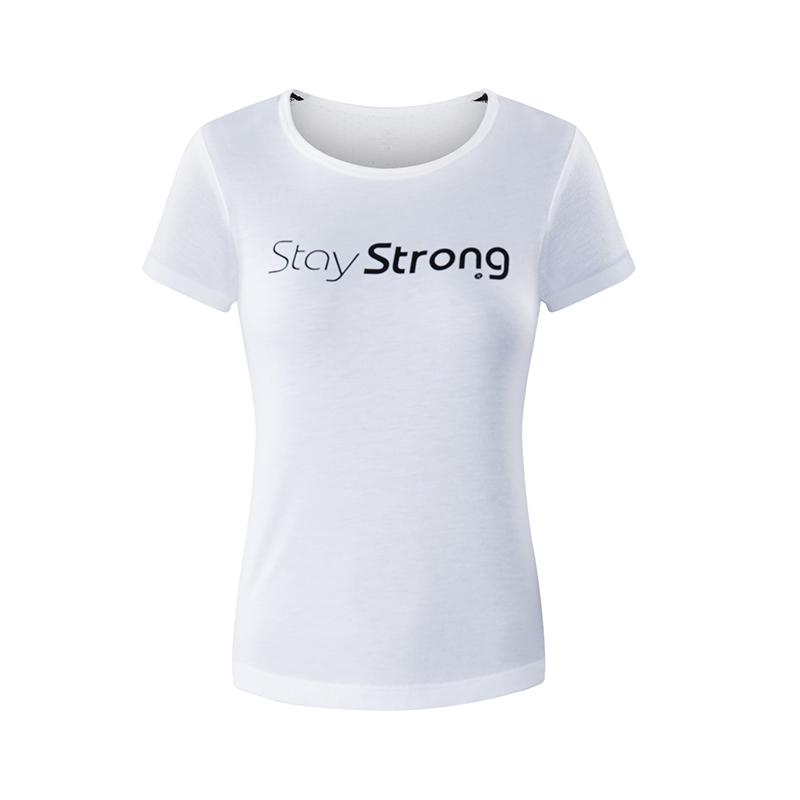 特步 专柜款  女子夏季圆领简约轻薄透气舒适运动综训针织衫T恤982228012094