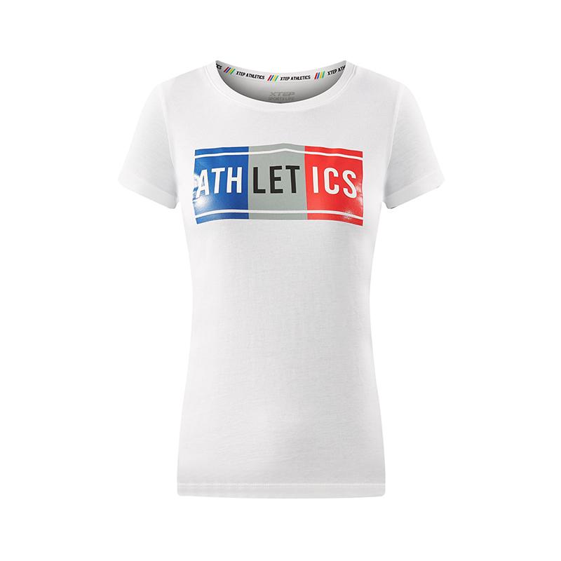特步 专柜款 女子夏季短袖T恤 青春活力百搭女装982228012154