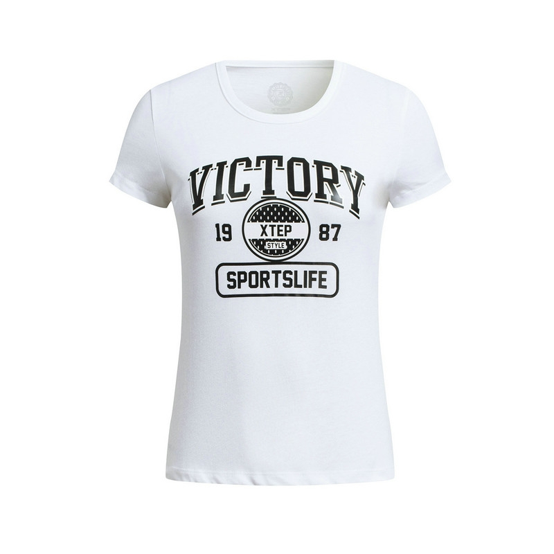 特步 专柜款 女子夏季T恤 新品百搭休闲 女子夏季短袖针织衫983228011777